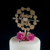 Lesbian floral and love heart wedding cake topper. LGBTQ cake decoration L323L