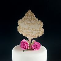 Personalised lesbian cake decoration. Baroque style plaque topper LGBTQ L328L