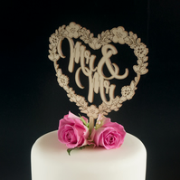 Mr and Mr gay wedding cake topper. Floral love heart cake decoration L158