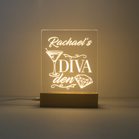 Diva den. Light LED personalized sign. Light up sign for home bar or den D19