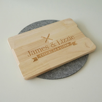 Personalised couple's wooden chopping board. House warming gift L259