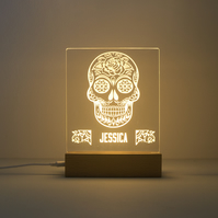 Sugar skull lamp. LED light up sign. Personalised day of the dead sign. D26