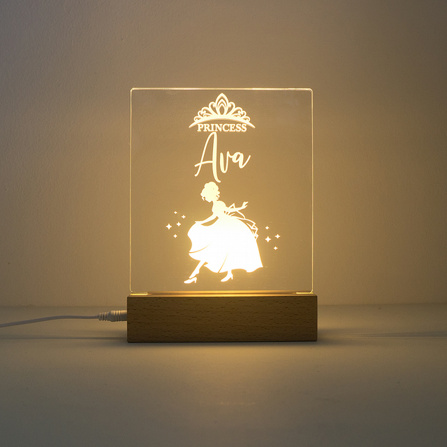 Personalised princess LED bedroom name sign. Girl's night light lamp D14