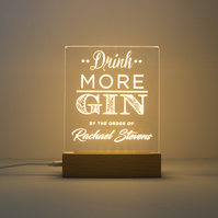Personalised 'Drink more Gin' LED lamp. Home bar sign. Gin lover's gift D8