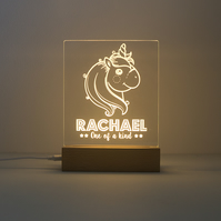 Personalised unicorn LED bedroom name sign. Children night light lamp D17