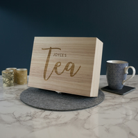 Rustic wooden tea bag box. Personalised tea caddy box for tea lovers L3