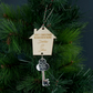 Personalised First Christmas in our new home wooden Xmas tree decoration L376
