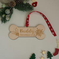 Personalised dog memorial Christmas decoration. Dog bone remembrance gift L364