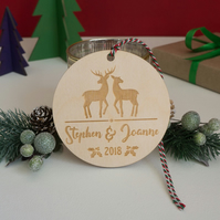 Personalise deer Christmas decoration. Xmas tree bauble for couples L381