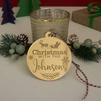 Personalised family Christmas tree bauble. Family name tree ornament L366