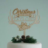 Personalised family Christmas cake topper. Wooden festive cake decoration L222