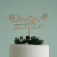 Personalised Xmas cake topper. Festive holiday family name cake decoration L220