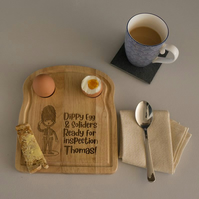 Queens guard wooden egg and toast board. Personalised child's breakfast tray L94