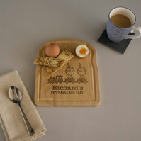 Children train set wooden egg and toast board. Personalised breakfast tray L95
