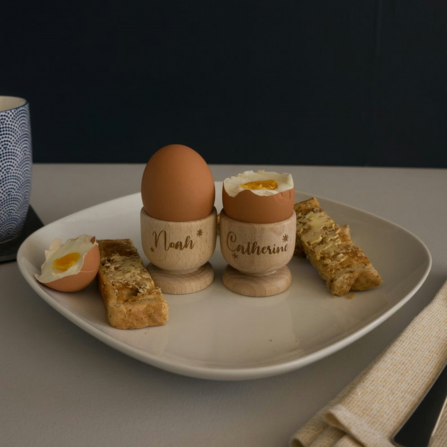 Personalised wooden egg cups. Engraved egg holders. Family breakfast gift L2