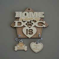 Personalised 'Home is where my dog is' Add your names and your dog's name L168