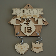 Personalised 'Home is where my cat is' Add your names and your dog's name L169