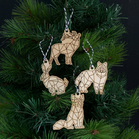 Animal wooden decorations. Low poly animal Christmas tree hangers L86