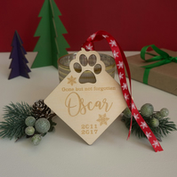 Personalised pet memorial hanging decoration. Engraved wooden tree decor L370
