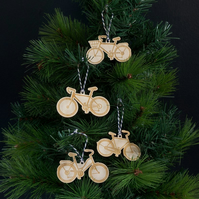 Bicycle wooden hanging Christmas decorations. Xmas tree baubles L85