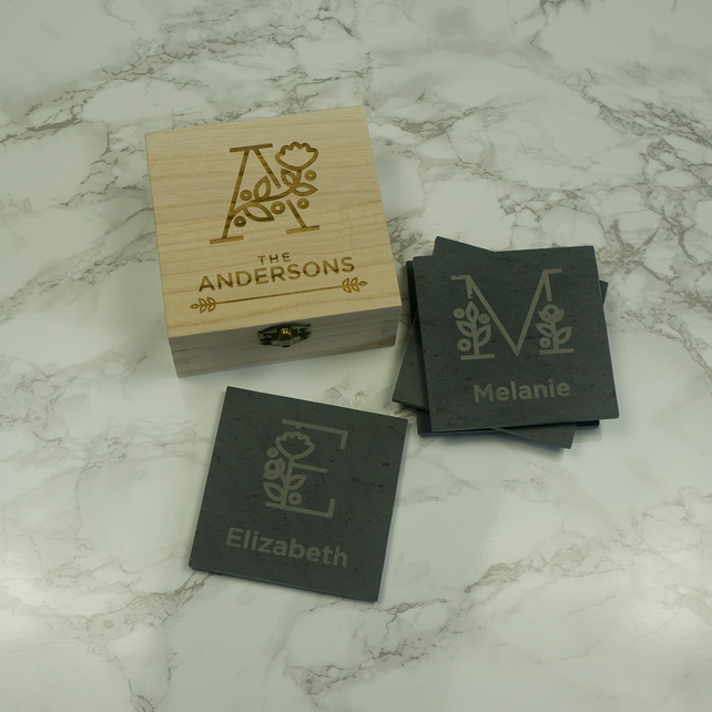 Personalised monogram engraved slate coasters and wooden box L305