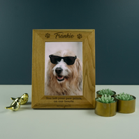 Dog memorial wooden photo frame. Personalised solid oak picture frame PF4