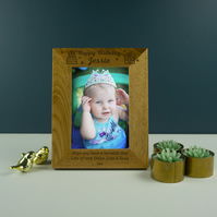 Personalised Happy Birthday photo frame. Engraved oak picture frame PF11