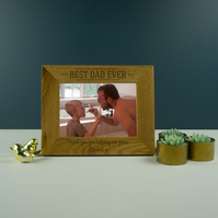 Best dad ever photo frame. Personalised oak picture frame Fathers day gift PF14