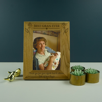 Best gran ever photo frame. Engraved oak picture frame Mothers day gift PF18