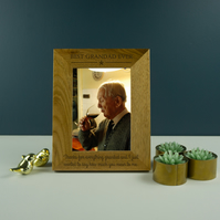 Best grandad ever photo frame. Engraved oak picture frame Fathers day gift PF20