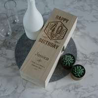 Birthday wine bottle box. Personalize wooden champagne wine case L359