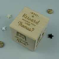 Personalised child's rewards dice. Wooden decision treats maker dice L19c