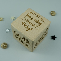 Takeaway food decision making dice. Personalised wooden treats reward die L19
