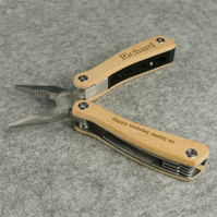 Personalised DIY multi tool. Engraved oak panel folding clippers pilers L47