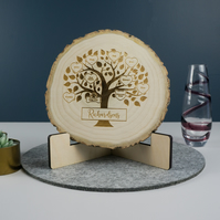 Rustic family tree wooden plaque centre piece. Laser engraved natural tree slice