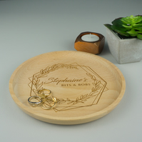 Personalised floral wooden coin tray. Solid beech wood catchall round tray L61