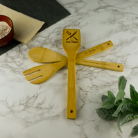 Personalised bamboo kitchen cooking utensils. Star baker Top chef L64