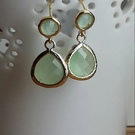 Fluorite glass pendant gold wrapped drop stud earrings