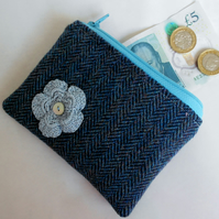 Coin Purse - Upcycled Blue Tweed Woollen Fabric