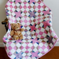 Patchwork Cot Quilt, Traditional Design, Mainly Pink