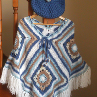 Beautiful Blue Sea inspired Granny Square Poncho Great for Festivals Boho