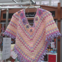 Boho Rainbow and Cupcakes Poncho Ideal for Festivals