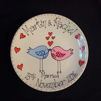 Personalised Hand-Painted Wedding or Engagement Plate Gift (Bird Design)
