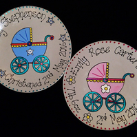 Personalised Hand-Painted Christening,New Baby, Baptism Gift Plate (Pram Design)