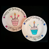 Personalised Hand-Painted 1st,18th, 21st, 30th, 40th etc. Birthday Gift Plate