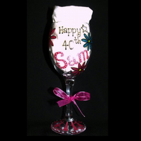 Personalised Birthday Wine Glass 18th, 21st, 30th, 40th etc.