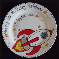 Personalised Christening, New Baby, Baptism, Birthday Gift Plate Rocket Design