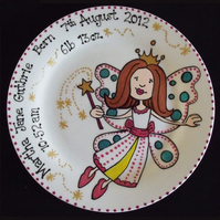 Personalised Christening, New Baby, Baptism, Birthday Gift Plate Fairy Design