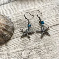 Antique Silver Pewter Starfish Earrings