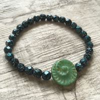 Green Czech Glass Fossil Stretch bracelet